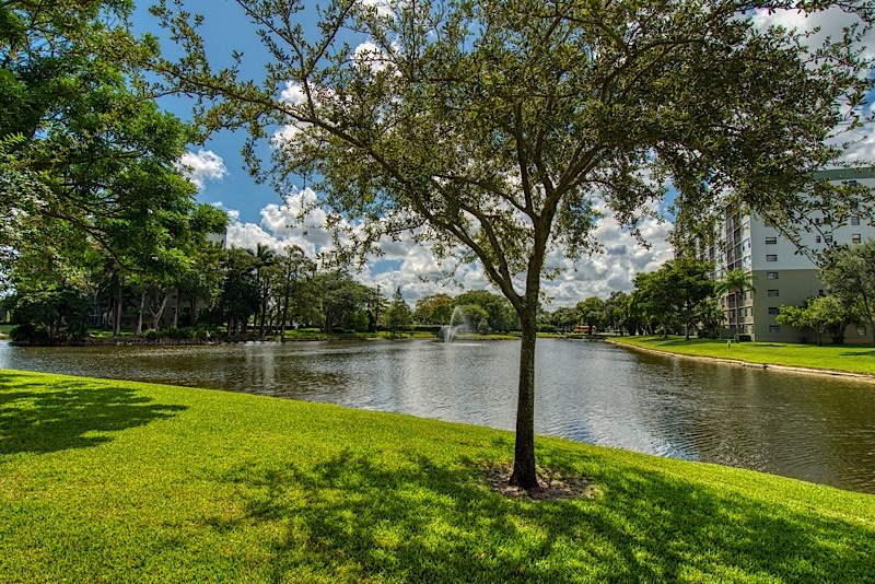 Cypress Bend Condos For Sale in Pompano Beach Lake in front of Condo Unit