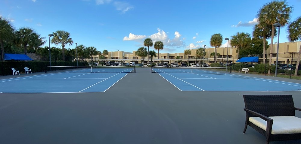 Tennis courts of Nobel Point waterfront community in Pompano Beach